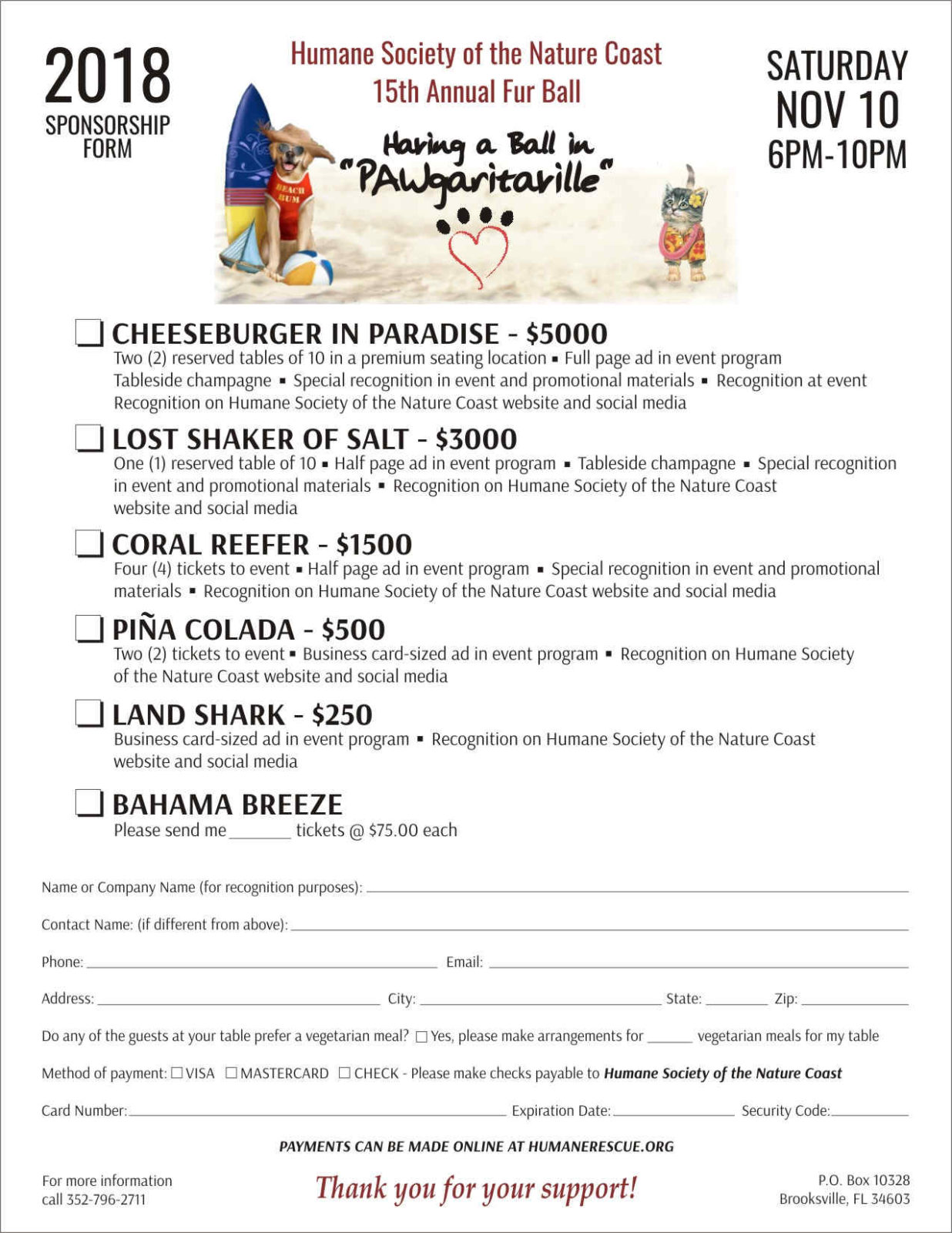 Fur Ball Gala Sponsorship form